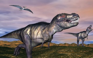 Illustration of two T-Rexes and a pterodactyl roaming