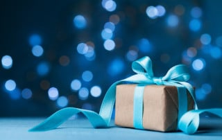 Gift wrapped with ribbon