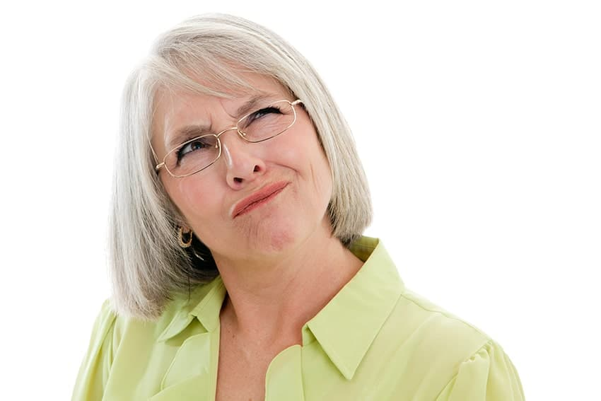 Mature woman not sure where she left her dentures