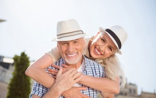 older couple enjoying time outside with each other