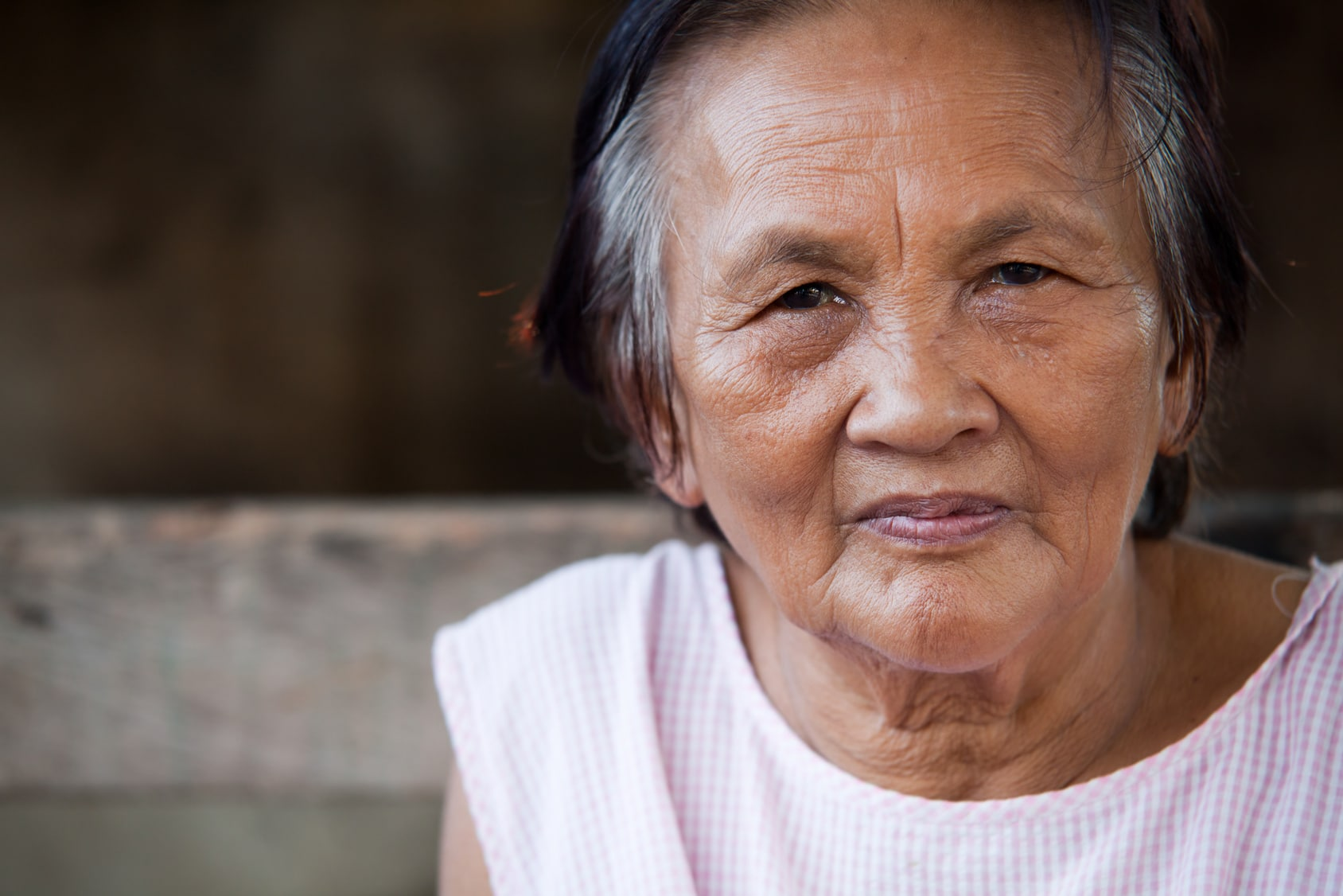 Portrait of an Asian senior woman in natural light - Manila, Philippines
